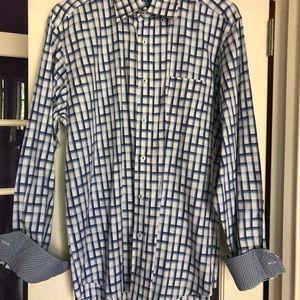 Bugatchi Men's Cotton Classic Fit Long Sleeve Blue
